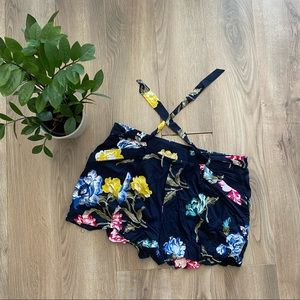 Joe Fresh Navy Floral Shorts with Belt